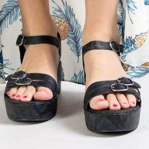 NIB Black Snake Print Embossed Platform Sandal